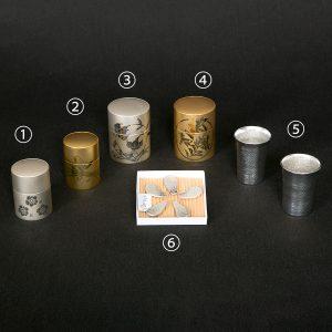 薩摩彫金(茶筒・コップ・箸置き)